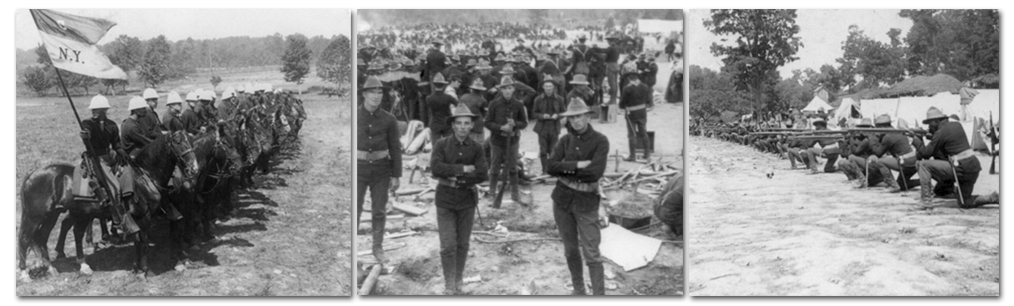 Three black and white photographs showing scenes from Camp Alger. On the left, cavalry soldiers on horseback are formed in a line. One holds a flag showing that the men are from New York. In the center, a group of soldiers stand, arms crossed, facing the camera. Behind them are scores of soldiers at work in the camp. On the right is a photograph of African-American soldiers in kneeling position, guns at the ready, shooting target practice.