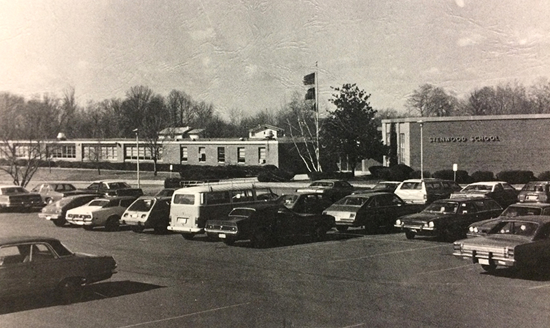 Black and white photograph of the front of Stenwood Elementary School from the 1978-79 yearbook.