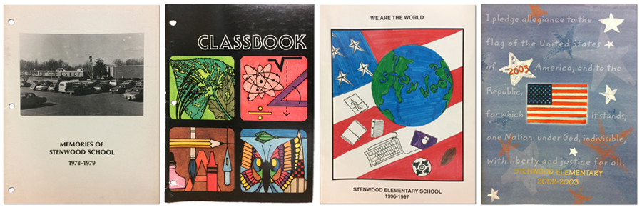 Collage of the covers of Stenwood Elementary School yearbooks from 1979, 1981, 1997, and 2003. The 1979 yearbook features a black and white photograph of the front of the school. The 1981 yearbook has drawings of a plant leaf, an atom, a butterfly, a pencil, crayon, and ink brush, and math symbols. The 1997 yearbook is a student drawn image of the Earth where the continents spell out the name Stenwood. The Earth is set above an American flag. The 2003 yearbook has a blue / gray cover with an American flag at the center. The Pledge of Allegiance, printed in white, fills the cover.