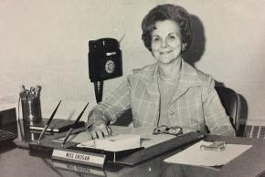 Black and white photograph of Thelma K. Grogan, principal from 1978 to 1982, at her desk.