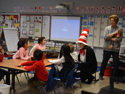 Cat in the Hat made special visits to classrooms!