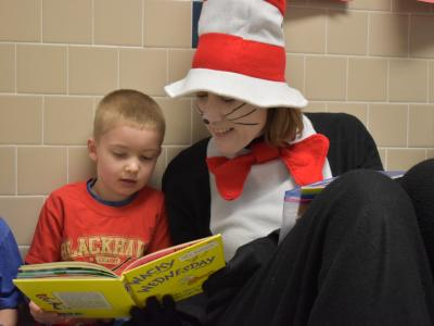 Cat in the Hat reads with first graders!
