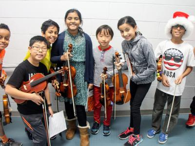 photo of students playing a winter concert