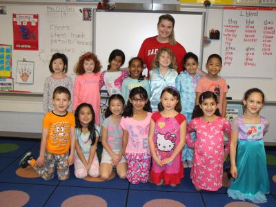 Photo of students in their pajamas for Pajama Day