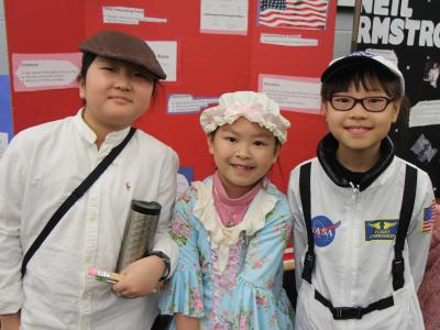 Photo of students dressed as famous people.